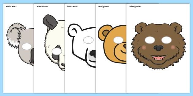 Bear Role Play Masks - role play mask, role play, bear, mummy bear, daddy bear, baby bear,