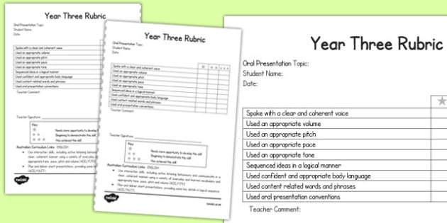 Oral Presentation Rubric Year Three - australia, oral, presentation, rubric, year three