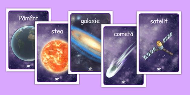 Spatiu, Plansa cu vocabular ilustrat- planete in detaliu