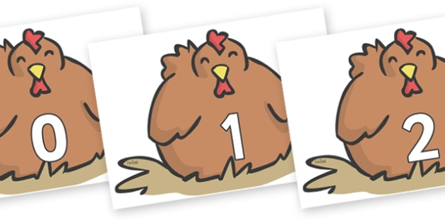 Numbers 0-100 on Chickens - 0-100, foundation stage numeracy, Number recognition, Number flashcards, counting, number frieze, Display numbers, number posters