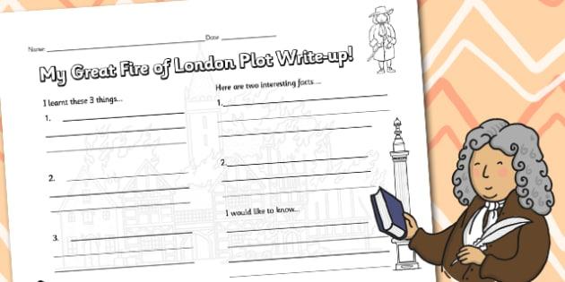The Great Fire of London Write Up Worksheet - London, worksheet