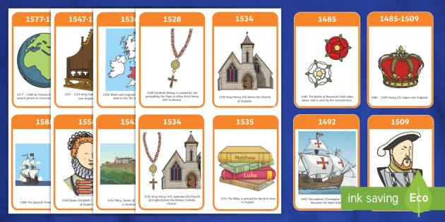 The Tudors Timeline Flash Cards - Tudors, Henry, history, word card, flashcards, cards, Henry VIII, Tudor, England, Queen Elizabeth I, Church of England, reformation