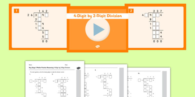 KS2 Reasoning Test Practice Missing Number Calculations 4-Digit by 2-Digit Division Resource Pack - Key Stage 2, KS2, Reasoning, Test, Practise, Missing Number, Long division
