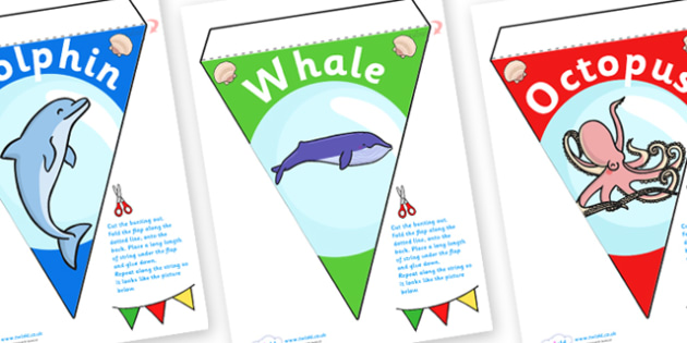 Under The Sea Display Bunting - under the sea, under the sea bunting, sea creature display bunting, under the sea key words bunting, sea bunting