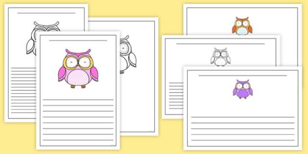 Cute Owl Rainbow Themed Writing Frames - cute owl, rainbow, writing frames, cute, owl