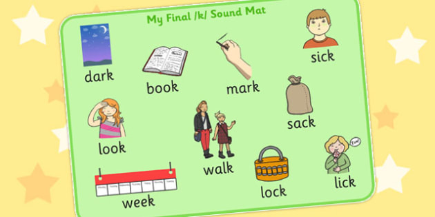 Final K Sound Word Mat 2 - final, k, sound, word mat, word, mat