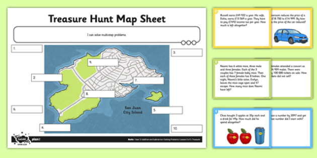 Year 5 Problem Solving Treasure Hunt - addition, subtraction, add, subtract, one step, two step, problem, problem solving, choose, operation, sort, word problem