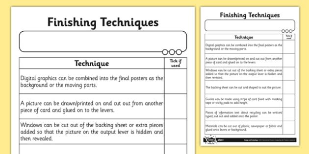 Finishing Techniques Activity Sheet - Go Green, Eco, recycle, warrior, environment, worksheet