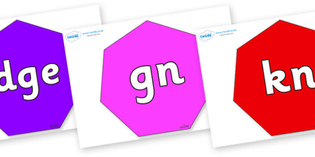 Silent Letters on Heptagons - Silent Letters, silent letter, letter blend, consonant, consonants, digraph, trigraph, A-Z letters, literacy, alphabet, letters, alternative sounds