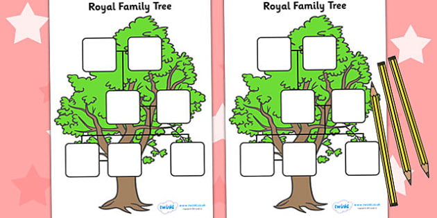 The Royal Family Worksheets - Family tree, family tree template, my family, parent, mum, dad, grandparent, grandma, grandad, family, granpa