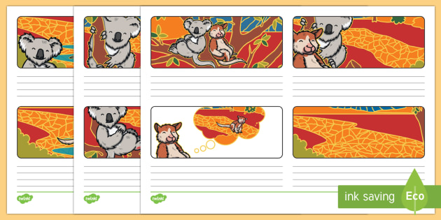 Why The Koala Has A Stumpy Tail Storyboard Template-Australia - Australian, Aboriginal, Dreamtime Stories, traditional, retell, recount, creative writing, writing,
