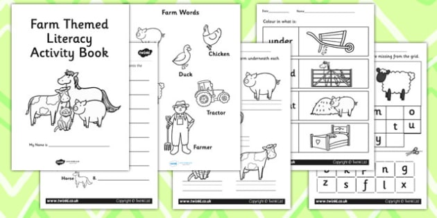 Farm Themed KS1 Literacy Activity Book - english activity book