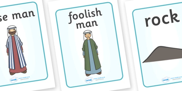 The Wise Man And The Foolish Man Display Posters - the wise man, the foolish man, wise, foolish, sand, rock, display, banner, poster, sign, rain, houses, building, house, bible story, bible