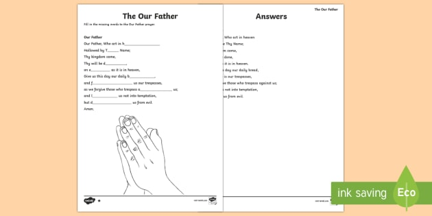 The Our Father Missing Words Differentiated Activity Sheets-Scottish - CfE Catholic Christianity, prayers, mass responses, Our Father ,Scottish