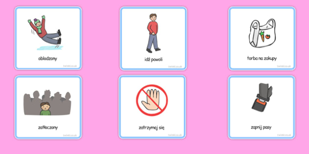 Karty komunikacyjne Wyjście (chłopiec)  po polsku - zakupy, bezpieczeństwo