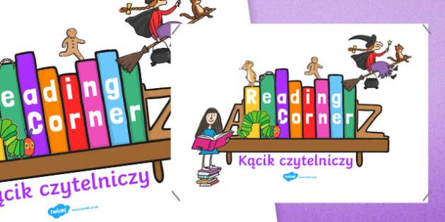 Reading Corner Display Poster Polish Translation - reading corner, reading corner poster, reading area display, reading display poster, display posters, reading, area, readingdisplay, reding, readingcorner