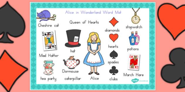 Alice in Wonderland Word Mat - australia, alice in wonderland
