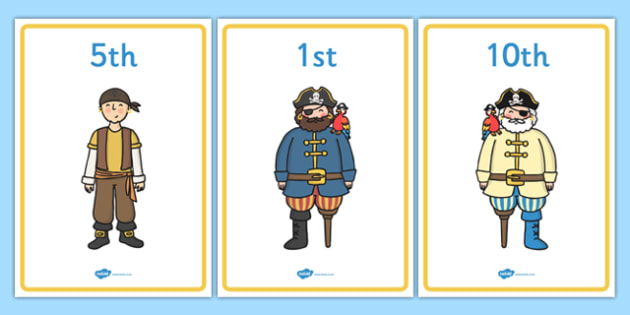 Ordinal Numbers Display Posters Pirates - order, maths