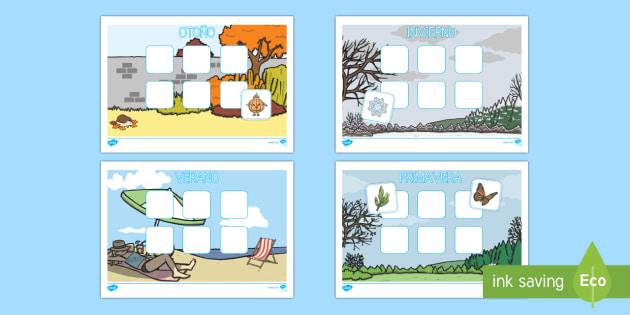 Las estaciones del año recortar y pegar Ficha de actividad - El tiempo y las estaciones del año, proyecto, identificación, recortar