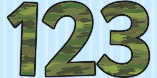 Camouflage Display Numbers - number display, classroom display