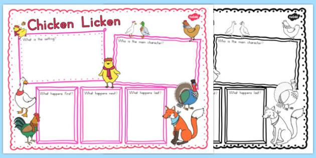 Chicken Licken Book Review Writing Frame - australia, chicken licken