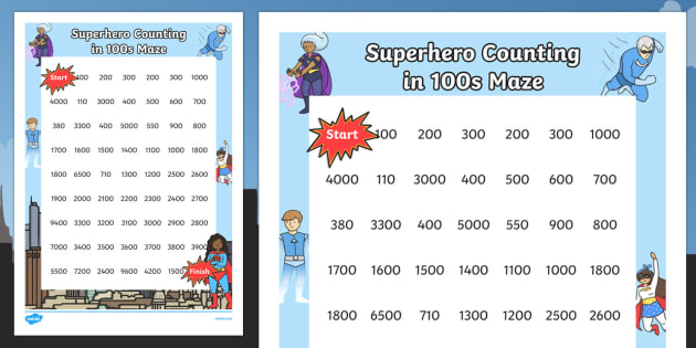Superhero Themed Counting in 100s Maze - superhero, counting, count, 100, maze