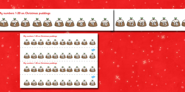 1-20 on Christmas Puddings Number Strips - xmas, Christmas,  Maths, Math, number track,  Numberline, Number line, Counting on, Counting back, counting, space