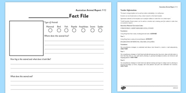 Animal Report Template F-Y2 - Australia, Animal, Report