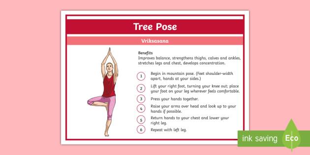 Yoga Tree Pose Step-by-Step Instructions - Yoga, health, stress, calm, peace, KS1, KS2, well being, anxiety, work life balance, WLB