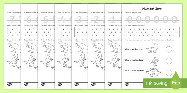 Dinosaur Themed 0 20 Number Formation Workbook - dinosaur, 0, 20, number, formation, number formation, dinosaur themed number formation, numeracy, maths, overwriting