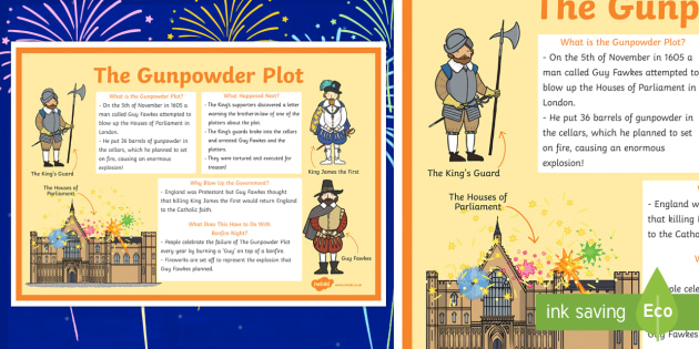 The Gunpowder Plot Large Information Poster KS1 - Gunpowder, Plot