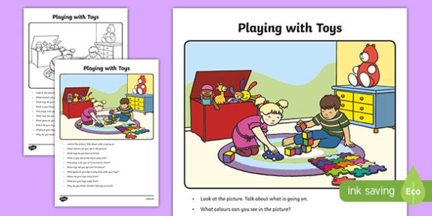 Playing with Toys Oral Language Activity Sheet-Irish, worksheet