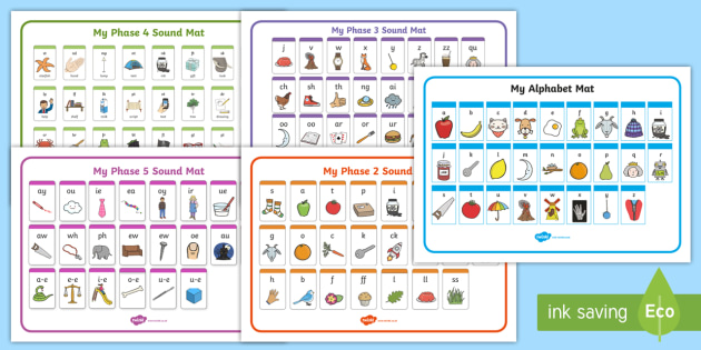 Alphabet and Phase 2-5 Sound Mat Pack - phase, sound, mat, pack, 1, 2, 3, 4, 5