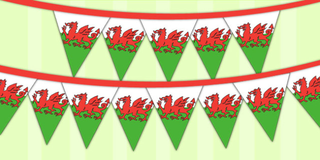 Wales Tourist Information Role Play Welsh Flag Bunting - welsh dragon bunting, display, bunting, cymraeg, rol eplay, bounting