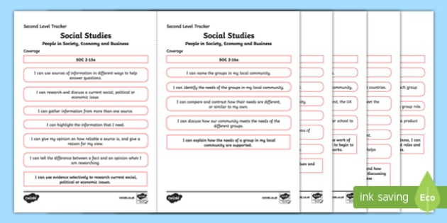 CfE Social Studies (People in Society, Economy and Business) Second Level Child Friendly Tracking-Scottish