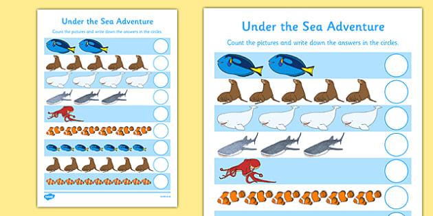 Under the Sea Adventure Counting Activity Sheet - finding dory, finding nemo, under the sea adventure, fish, ocean, water, worksheet