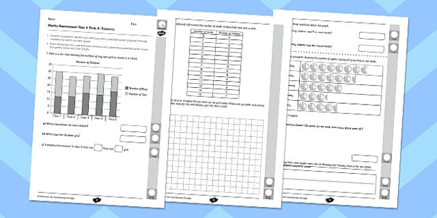 Year 4 Maths Assessment: Statistics Term 3 - maths, assessment, statistics, year 4