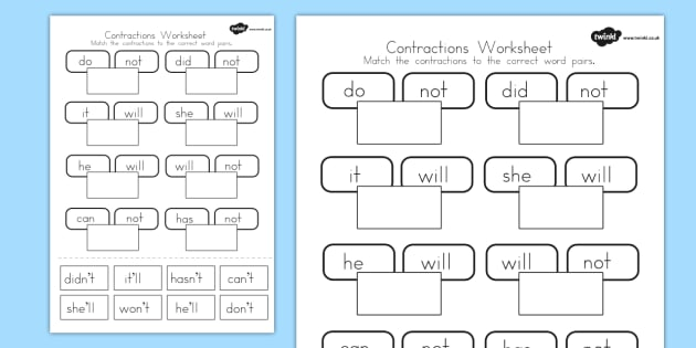 Contractions Worksheet - contraction, english, literacy, words