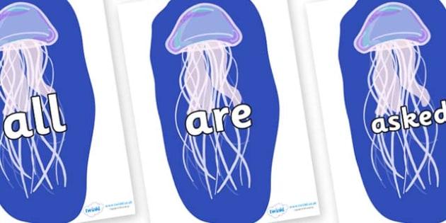 Tricky Words on Jellyfish - Tricky words, DfES Letters and Sounds, Letters and sounds, display, words