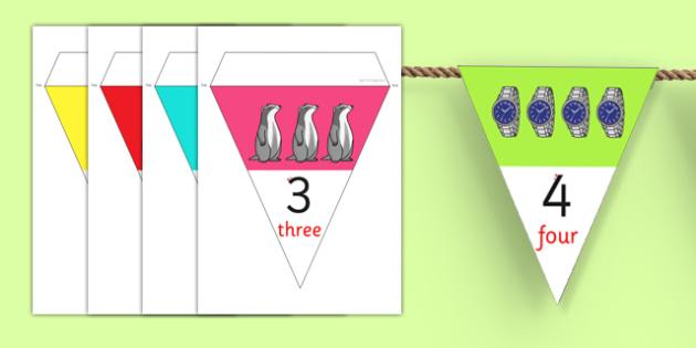 0-50 Number Line Bunting - numberline, bunting, display, 0-50