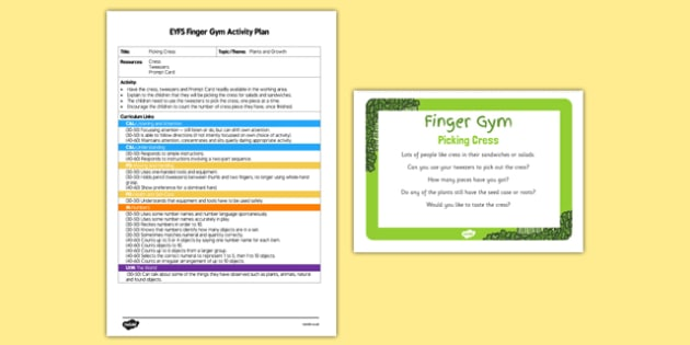 Picking Cress EYFS Finger Gym Plan and Resource Pack - plants, growth, growing, plant