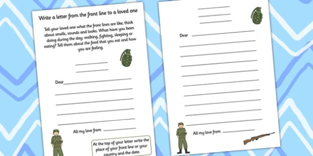 World War One Letter Writing Template - letter, template, ww1, front line