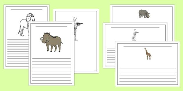 Dancing Giraffe Themed Writing Frames - Giraffes, dance, animals, Africa, safari, writing, literacy, frame, template, story, child-initiated, Giraffes Can