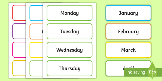 Days of the Week & Months of the Year Labels - Days of the Week, Months of the year, calendar, months, days, date display