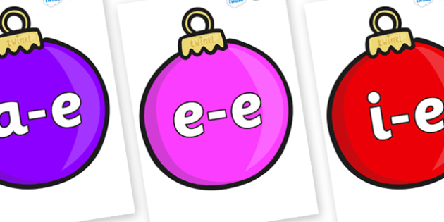 Modifying E Letters on Baubles (Plain) - Modifying E, letters, modify, Phase 5, Phase five, alternative spellings for phonemes, DfES letters and Sounds