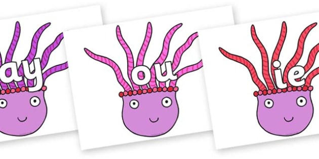 Phase 5 Phonemes on Anemone to Support Teaching on Sharing a Shell - Phonemes, phoneme, Phase 5, Phase five, Foundation, Literacy, Letters and Sounds, DfES, display