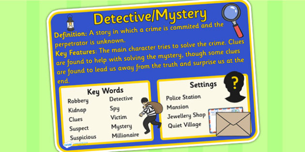 Story Genres Detective Mystery Display Poster - story genres, story genre posters, mystery poster, different genres, reading corner posters, mystery genre
