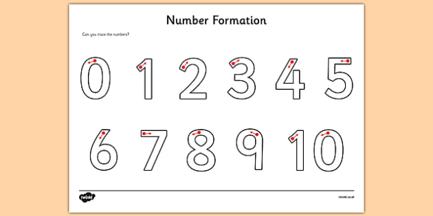 Number Formation Activity Sheet - Number formation, tracing