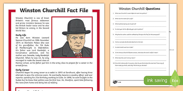 Winston Churchill KS2 Differentiated Reading Comprehension Activity