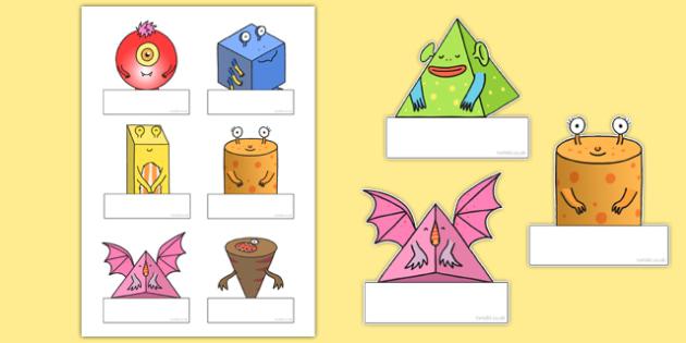 3D Shape Aliens Editable Self-Registration Labels - 3d shape, aliens, editable, self-registration, labels
